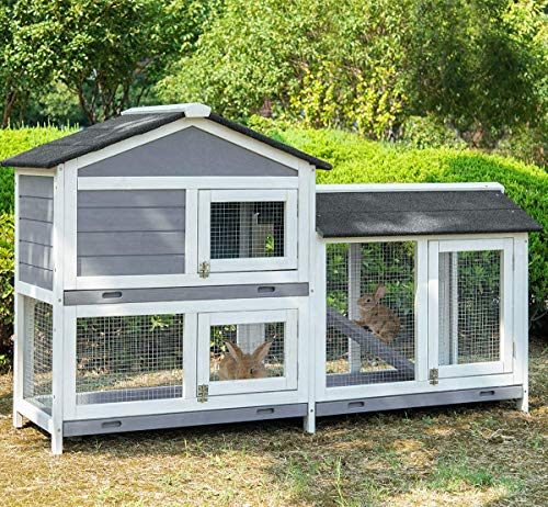 Julyfox Rabbit Hutch Indoor and Outdoor, 63 inch Large Chicken Coop Fir  Wood 2 Story Bunny Cage with Run Removable Tray Easy Clean Poultry House  for