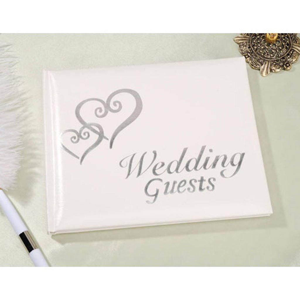 Amazon.com: Linked Hearts Wedding Guest Book Silver by Victoria Lynn ...