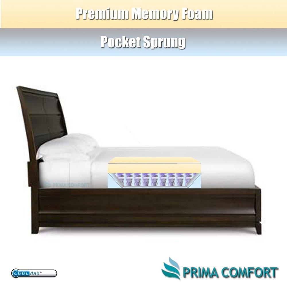 Comodidad Prima o cama de matrimonio de muelles ensacados 1200 colchón viscoelástico para cama de 50 kg/M3 acolchado Coolmax® diseño de incluye - Euro Ikea ...