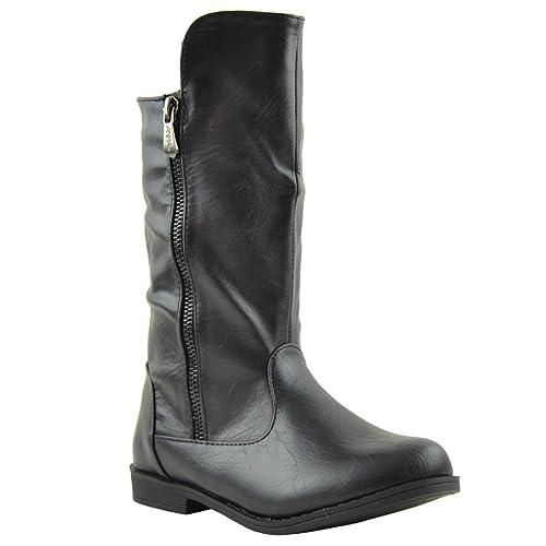 66eebe4ef70 Kids Knee High Boots Interior Fleece Lined Casual Comfort Shoes Black SZ 1