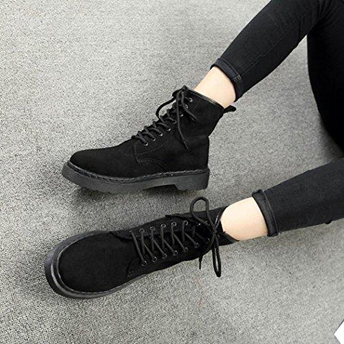 Gillberry Women Boots Autumn Winter Flat Heel Boots Lace-Up Boots Women Shoes Black Du6bFdTyH