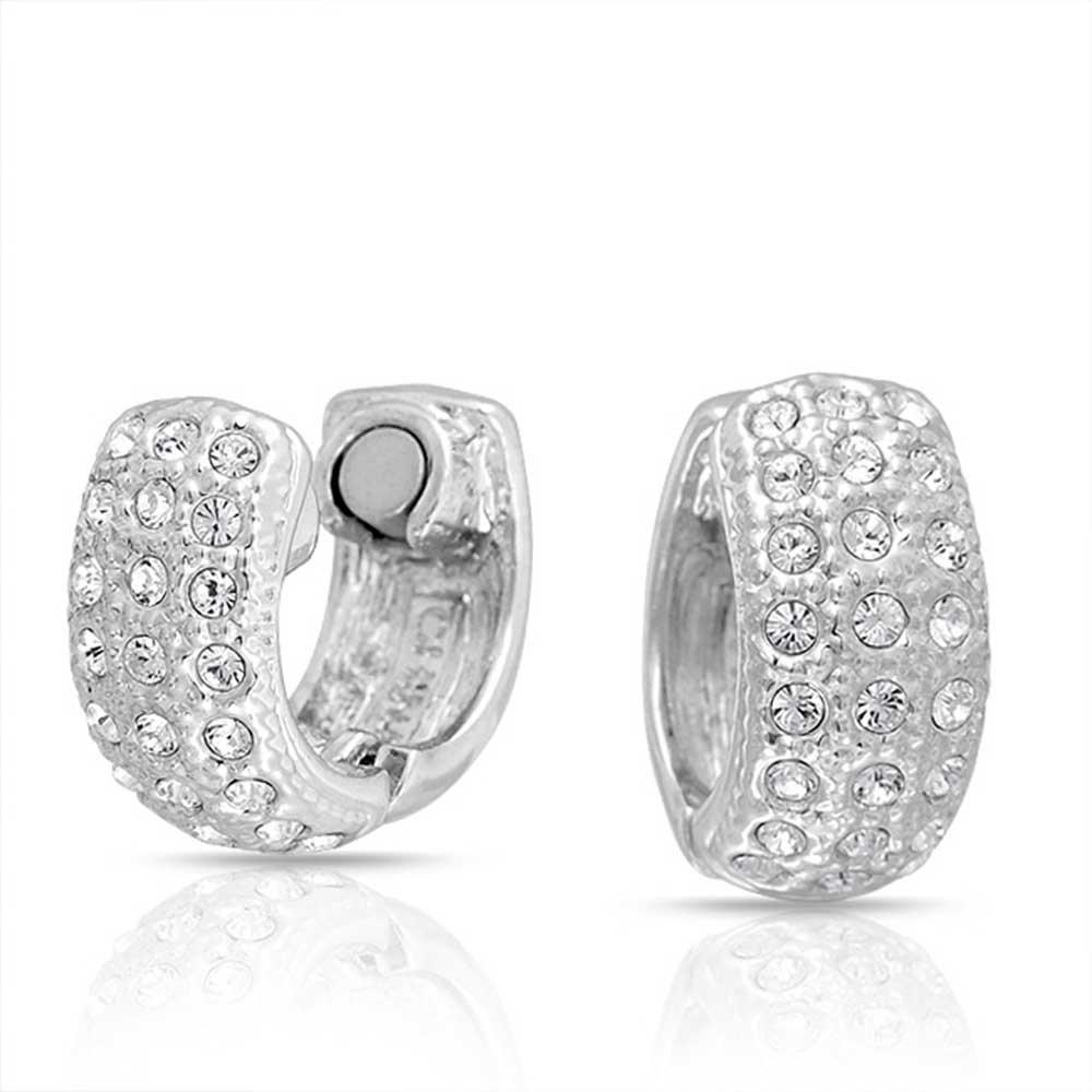 Bling Jewelry Crystal Magnetic Rhodium Plated Huggie Hoop Clip On Earrings TF-ERG519S