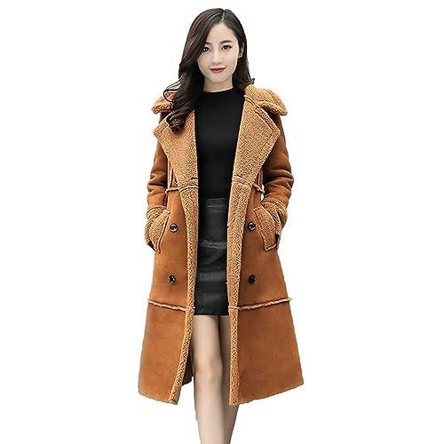YuanDian Mujer Chaqueta De Piel Sintética Solapa Doble Pecho Ajustado Manga Larga Calentar Abrigo