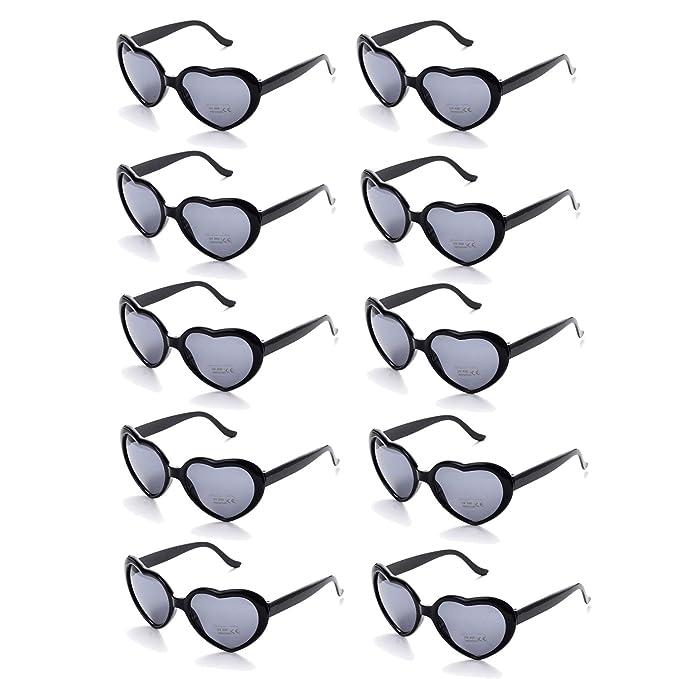 Amazon.com: Pack de 10 gafas de sol con forma de corazón ...