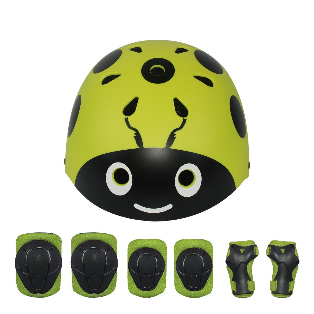 LANOVAGEAR Kids Protective Gear Set Adjustable Helmets Knee Elbow Pads Wrist Guards for Sports Bicycle Skateboard Roller Blading Skate Cycling (Yellow-Green, Small) by LANOVAGEAR (Image #2)
