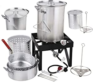 Holiday Master 30QT Turkey Fryer Steamer Kit – Heavy Duty Aluminum 55000 BTU Propane Burner 10QT Frying Basket Outdoor Stove Safe Precise Temp Versatile | For Seafood Fish Clam Lobster Barbecues Fairs