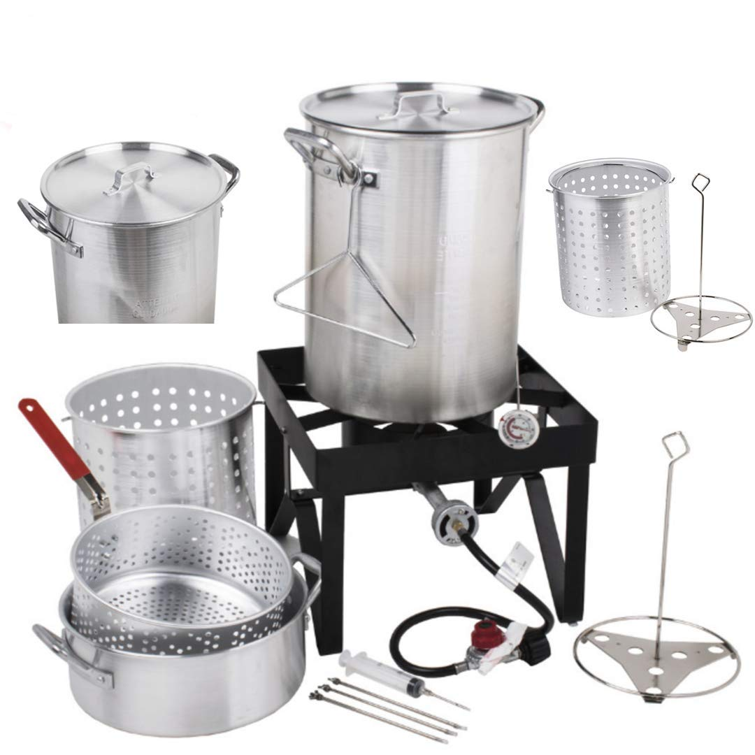 Holiday Master 30QT Turkey Fryer Steamer Kit - Heavy Duty Aluminum 55000 BTU Propane Burner 10QT Frying Basket Outdoor Stove Safe Precise Temp Versatile | For Seafood Fish Clam Lobster Barbecues Fairs by Holiday Master