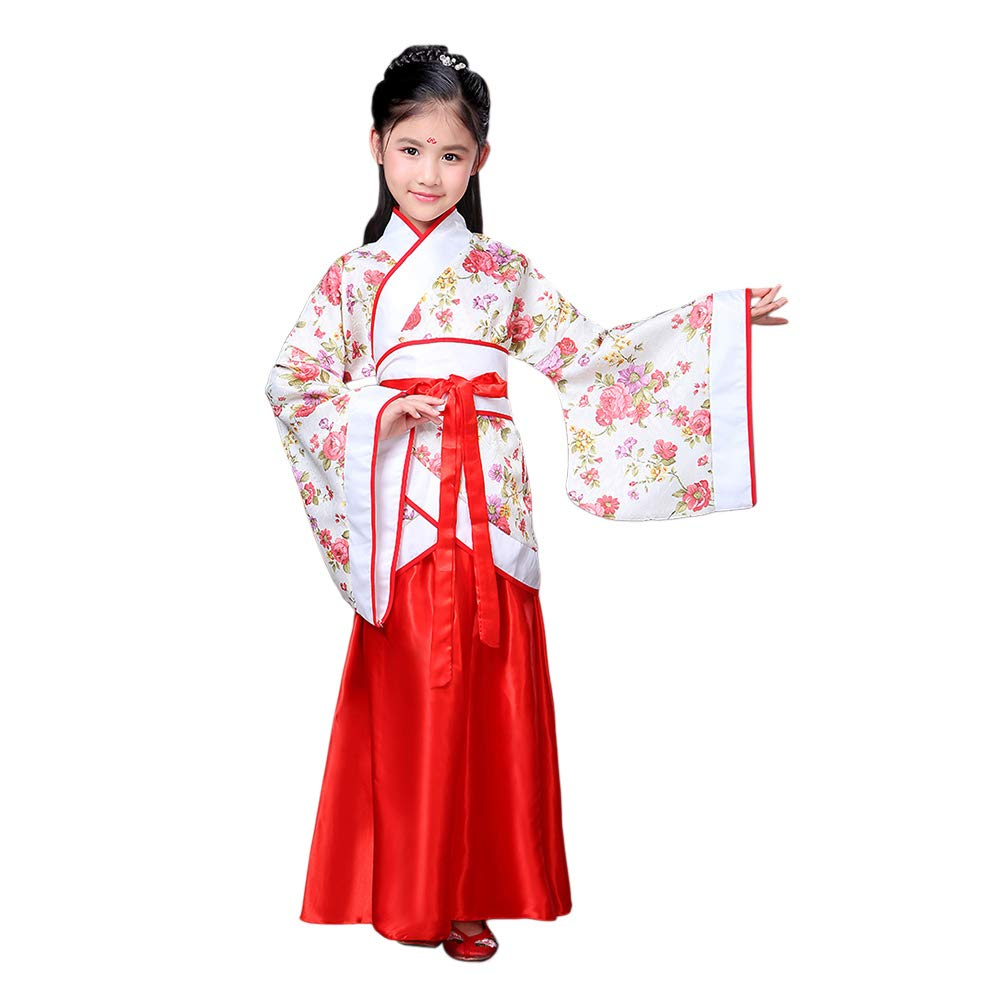 Xingsiyue Girls Chinese Style Hanfu Dress Ancient Traditional Clothing Tang Suit Red by Xingsiyue