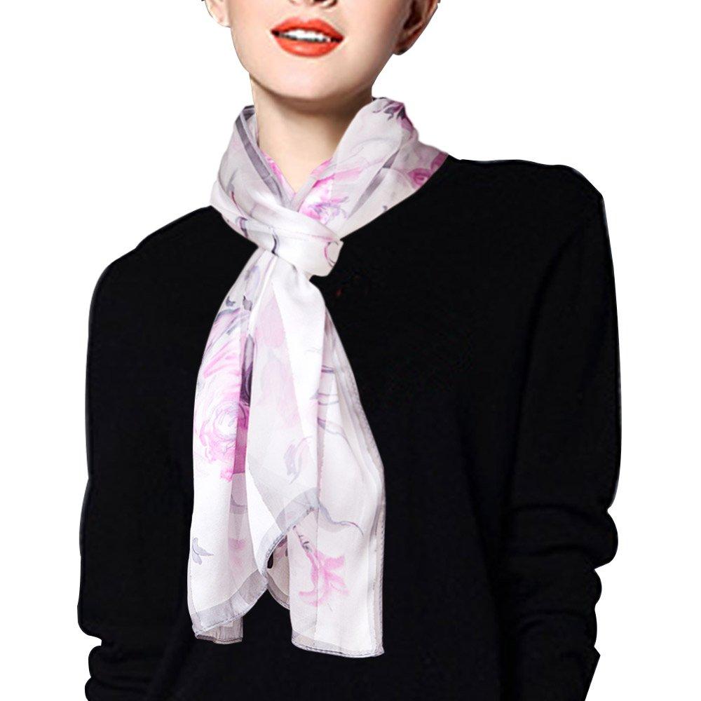 EcoWonder シルクスカーフ シルク100% レディース 冷房対策 大判 180*110cm B01911YB7Q ライトピンク ライトピンク