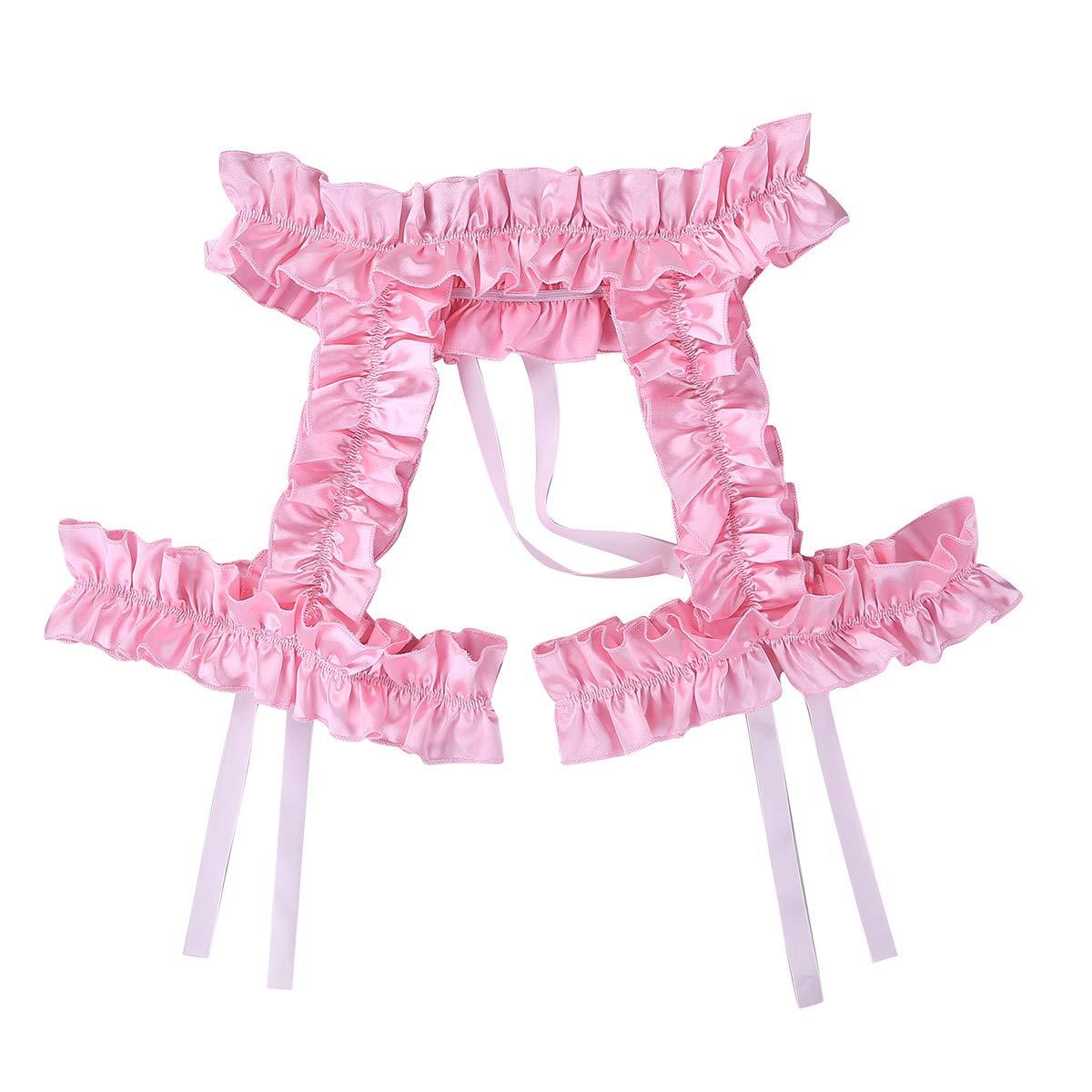 CHICTRY Mens Garter Underwear Frilly Satin Sissy Hollowed Suspender Trunk Belts