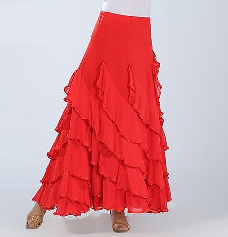 Traje de Baile Moderno Falda de Baile Flamenco de Mujer Vestido ...