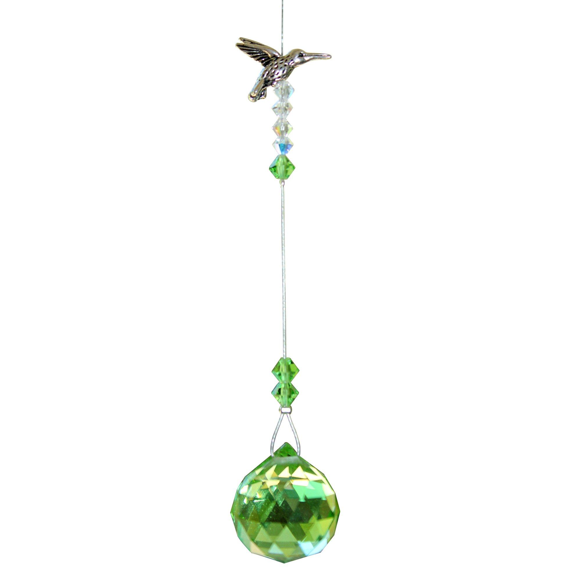 Hummingbird Mini with Crystal Ball - Rainbow Maker - Crystal Suncatcher - Home, Living Room, Bedroom, Kitchen, Car Decoration - Porch Decor - Sun Catcher - Hangings Crystal Glass Ornament - Hummingbird Figurine