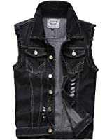 OLLIN1 Mens Casual Denim Vest Jacket with Hoodie at Amazon Men's ...