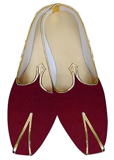 Mens Crimson Velvet Indian Wedding Shoe MJ015278