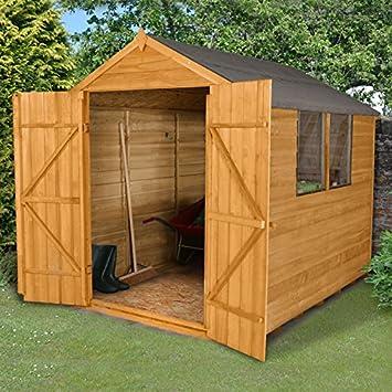8 x 6 de madera solapada – Cobertizo de jardín doble puerta