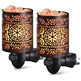 AMIR Salt Lamp, Natural Himalayan Salt Rock Lamp, 2 Pack Salt Crystal Night Lights with Modern Design Metal Lampshade, UL Approved Wall Plug, for Decoration, Lighting, Air Purifying, 4 Bulbs Included
