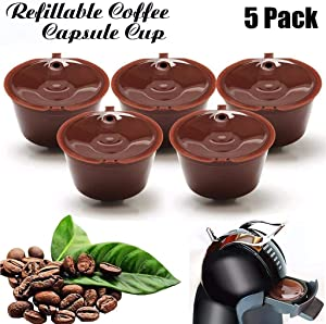 JETTINGBUY 5Pcs Refillable Coffee Capsules Cup, Durable Reusable Coffee Pods Filter Cup for Dolce Gusto, Compatible