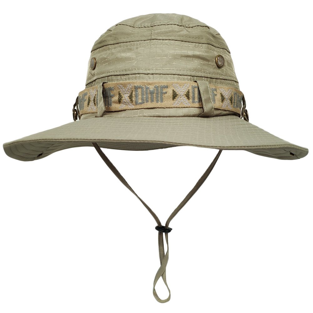 LETHMIK Waterproof Fishing Sun Boonie Hat, Summer Wide Brim UV Protection Safari Cap Outdoor Hunting Hat for Men&Women Beige