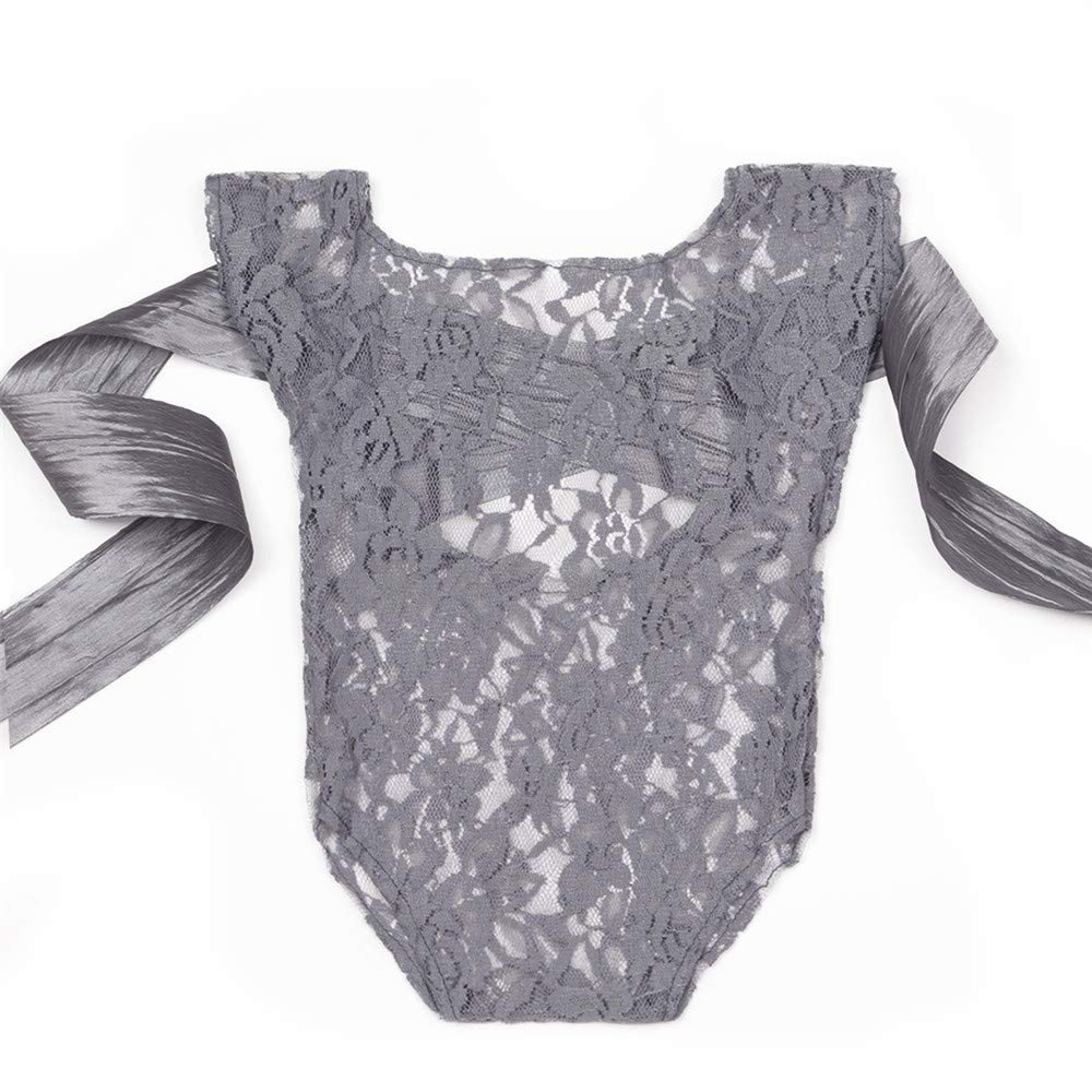ISOCUTE Newborn Baby Photography Props Girl Bodysuit, Infant Lace Photo Clothes Romper(Gray)