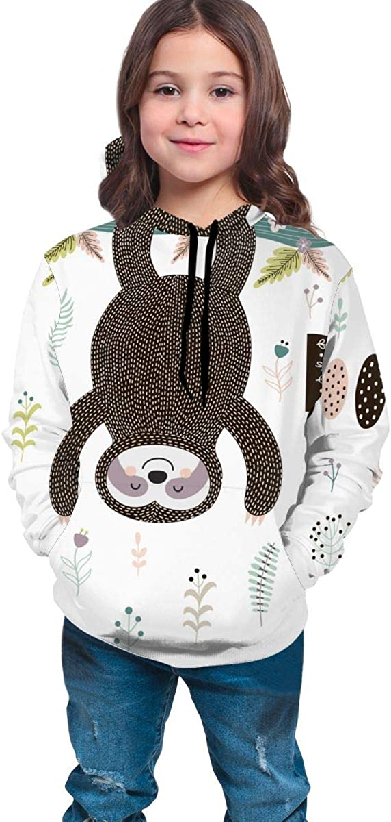 Lichenran Sloth Hanging from The Tree Men 3D Print Pullover Hoodie Sweatshirt with Front Pocket