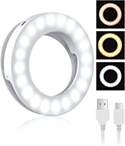 Selfie Ring Light, BlitzWolf Selfie Light with 40 LED & 4 Lighting Modes Rechargeable Clip on Circle LED Light Portable Circle Light for Phone Laptop iPad Photography Video Makeup(White)