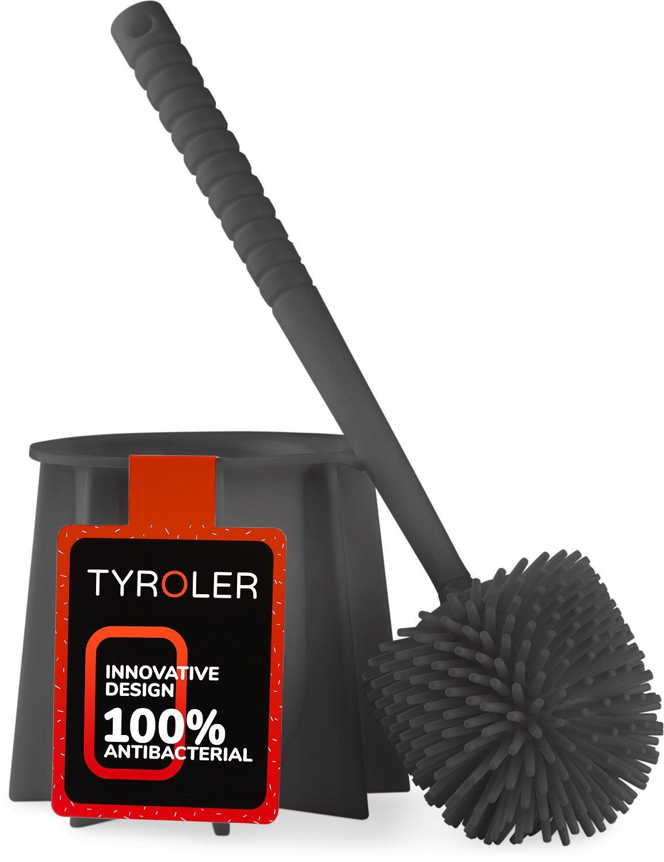Tyroler Bright Tools Toilet Brush Set,Bathroom Cleaning Toilet Bowl brush and holder Antibacterial White Toilet Brush bowl holder set