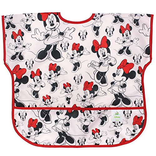 Bumkins Disney Minnie Mouse Junior Bib / Short Sleeve Toddler Bib / Smock 1-3 Years, Waterproof, Washable, Stain and Odor Resistant - Classic