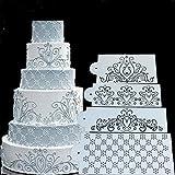 SEPTEMBER 4PCS Spray Flowers Cake Mold, Fondant Ice Cream Mesh Stencil Mold, Cake Flower Edge Template Mold,Wedding Cake Decorating Stencil Baking Tools,Dessert Decorating Mold