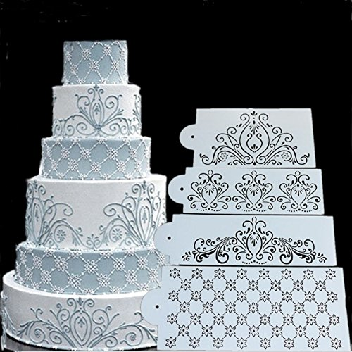 SEPTEMBER 4PCS Spray Flowers Cake Mold, Fondant Ice Cream Mesh Stencil Mold, Cake Flower Edge Template Mold,Wedding Cake Decorating Stencil Baking Tools,Dessert Decorating Mold
