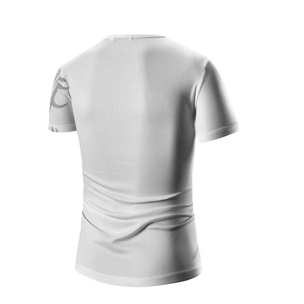 PASATO Men Summer Round Neck Tee Printing Men's Short-Sleeved T-Shirt Top Blouse(White-1,M=US:S) by PASATO Blouse For Men (Image #4)