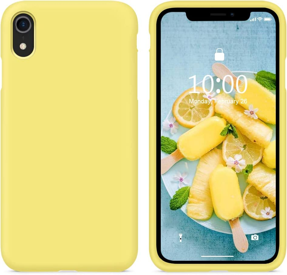 SURPHY Silicone Case Compatible with iPhone XR Case, Soft Liquid Silicone Shockproof Phone Case (with Microfiber Lining) Compatible with iPhone XR (2018) 6.1 inches (Yellow)