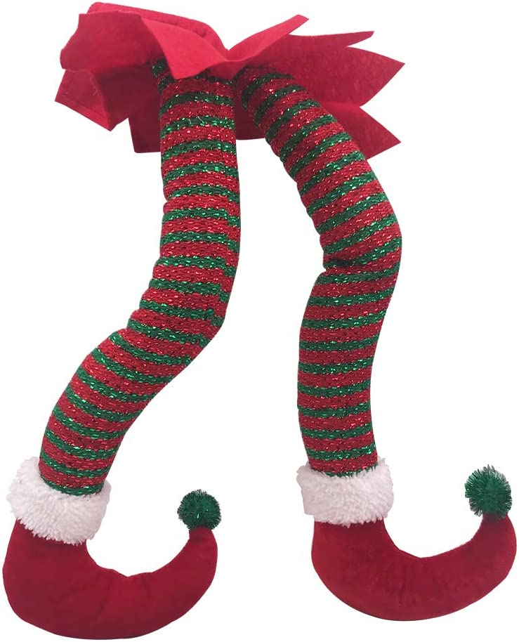 Asecinc Christmas Elf Legs Red Green Knitted Stripe for Christmas Tree Decoration - Elf Stuck in Christmas Tree Stuffed Pants Decoration