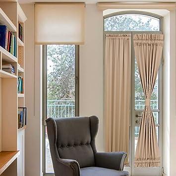 Amazoncom French Door Curtains Panels Rod Pocket Room Darkening