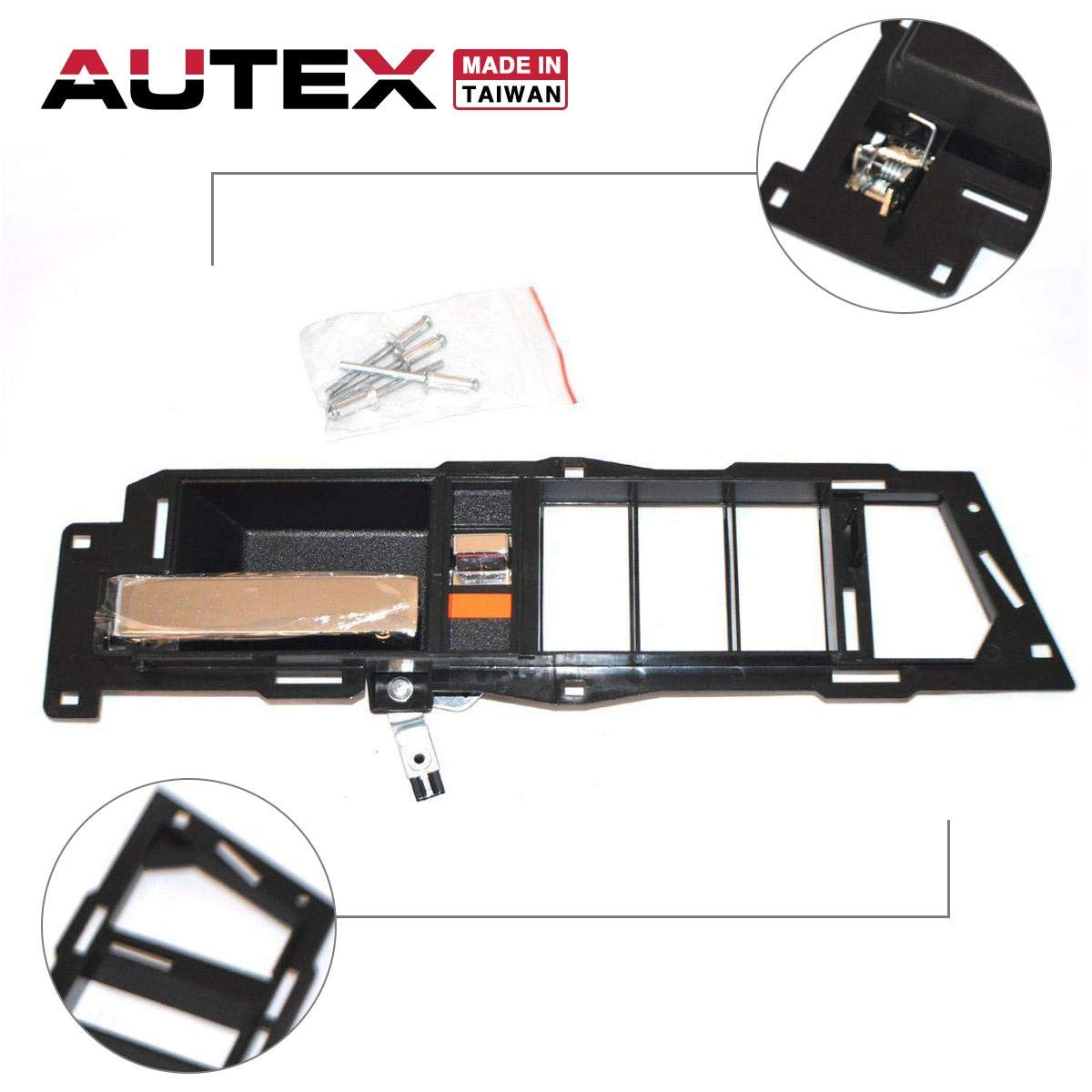 AUTEX Chrome Lever and Black Housing Interior Door Handle Front Left Driver Side Compatible with Chevrolet,GMC C//K 1500 2500 3500 Suburban Blazer 1988 1989 1990 1991 1992 1993 1994 7128 61205