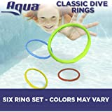Aqua Classic Dive Rings, 6 Pack Diving Toys, Swimming Pool Toys Kids, Dive & Retrieve, EZ Grab Large Diameter Rings