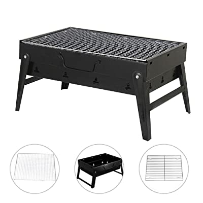 JANTRA88 Portable Grill Charcoal BBQ Outdoor Barbecue Camping Stainless Steel Picnic Grilling Folding Bic Cooking Inch Smoker Alternative Flame Stainless Steel Unfold Size: 35x27x20 Approx. 1.73kg: Garden & Outdoor