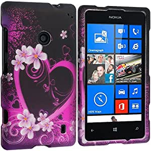 Accessory Planet(TM) Purple Love 2D Hard Snap-On Design Rubberized Case Cover Accessory for Nokia Lumia 521