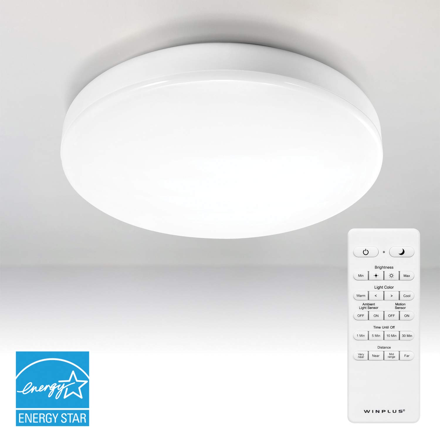 Winplus lm56123 6 control motion activated led ceiling light with remote white