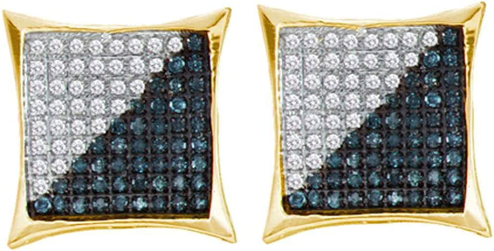 Yellow-tone Sterling Silver Mens Round Blue Color Enhanced Diamond Square Cluster Earrings 1//4 Cttw