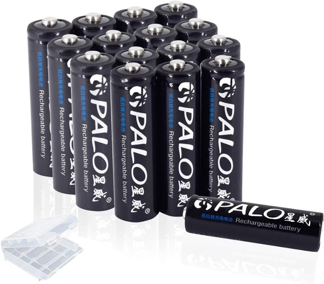 PALO 16 Pack 600mAh 1.2V AA Ni-MH Baterías recargables para luces solares con estuche: Amazon.es: Electrónica