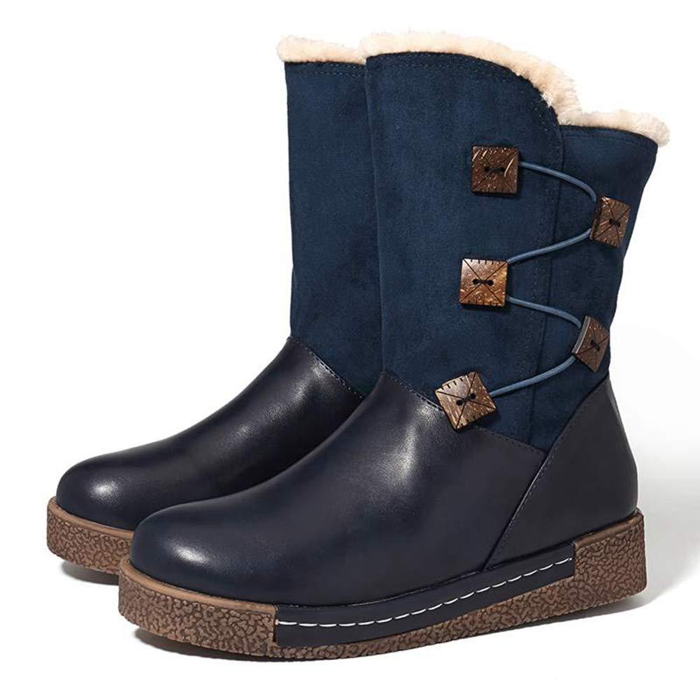 Frauen Faux Faux Faux Wildleder Warme PlüSch Schneeschuhe Winter AußErhalb ReißVerschluss Taste Schuhe Pelz GefüTtert Ankle Stiefelies faadb8