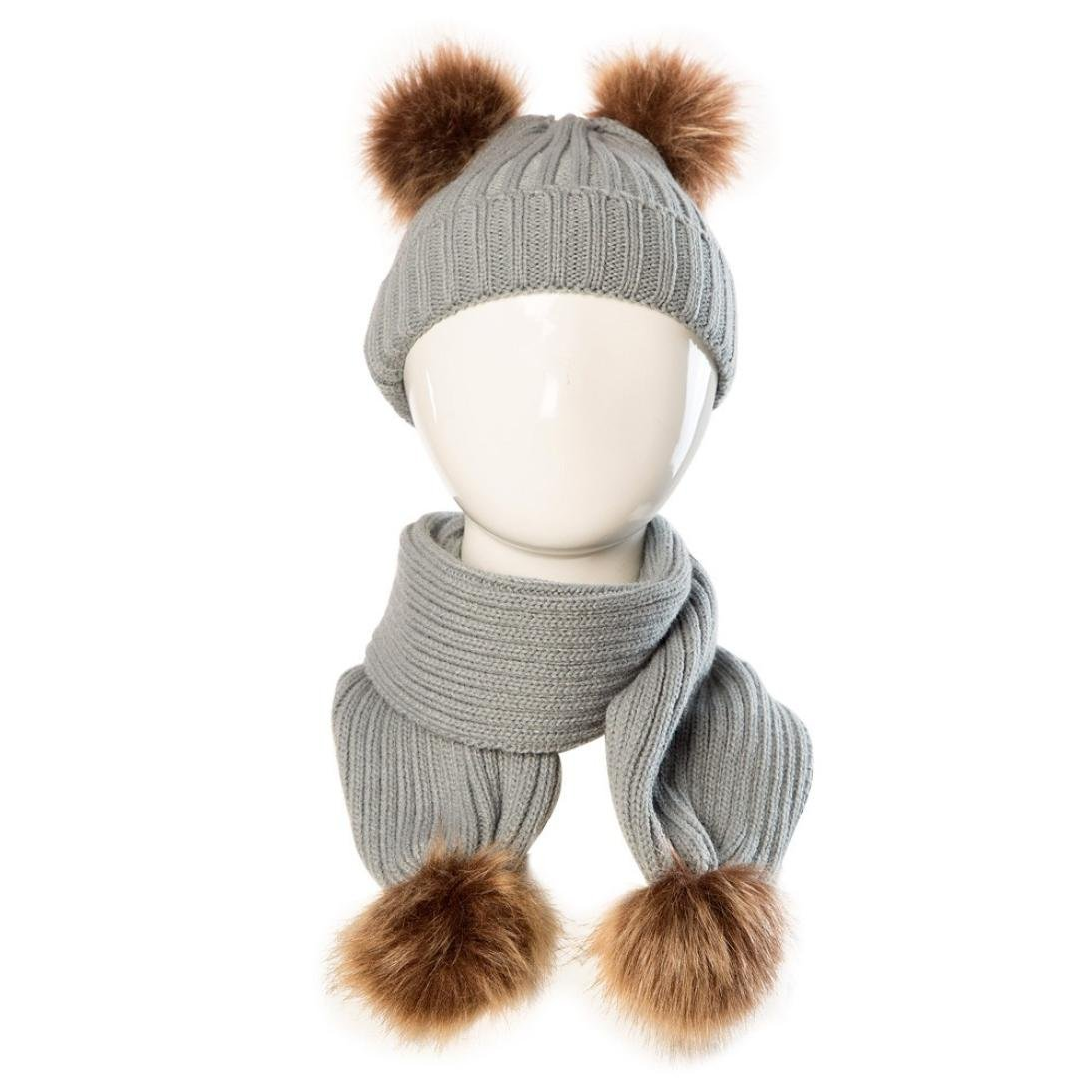 Minshao Baby Cute Winter Kids Baby Hats Keep Warm Set Cute Hat Scarf For 0-36 Month Old Baby