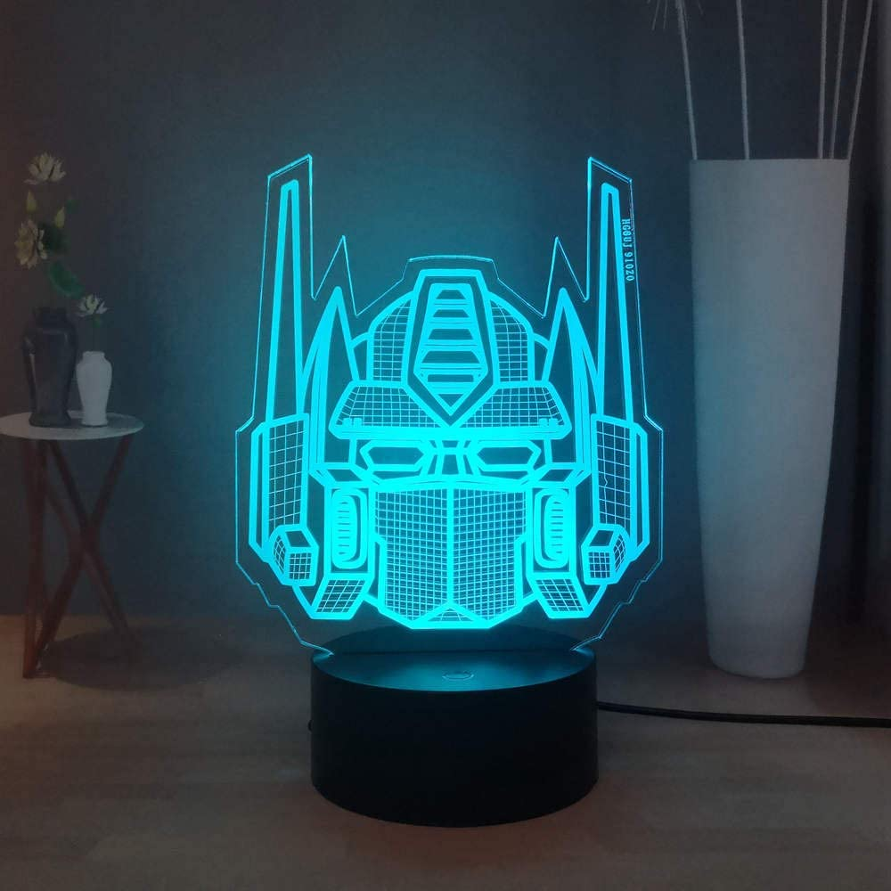 Laysinly Transformers 3D Night Light, Optimus Prime LED Creative Table Lamp, USB Remote Control Child Bedroom Table Lamp, Colorful Desk Lamp Decor Light, Kids Birthday Christmas Gift