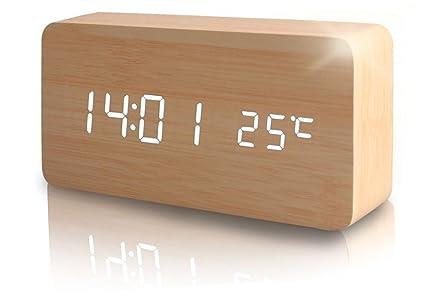 SXWY Despertador (Madera), Despertador Digital Temperatura Tiempo Despertador Multifuncional Brillo Ajustable Despertador De