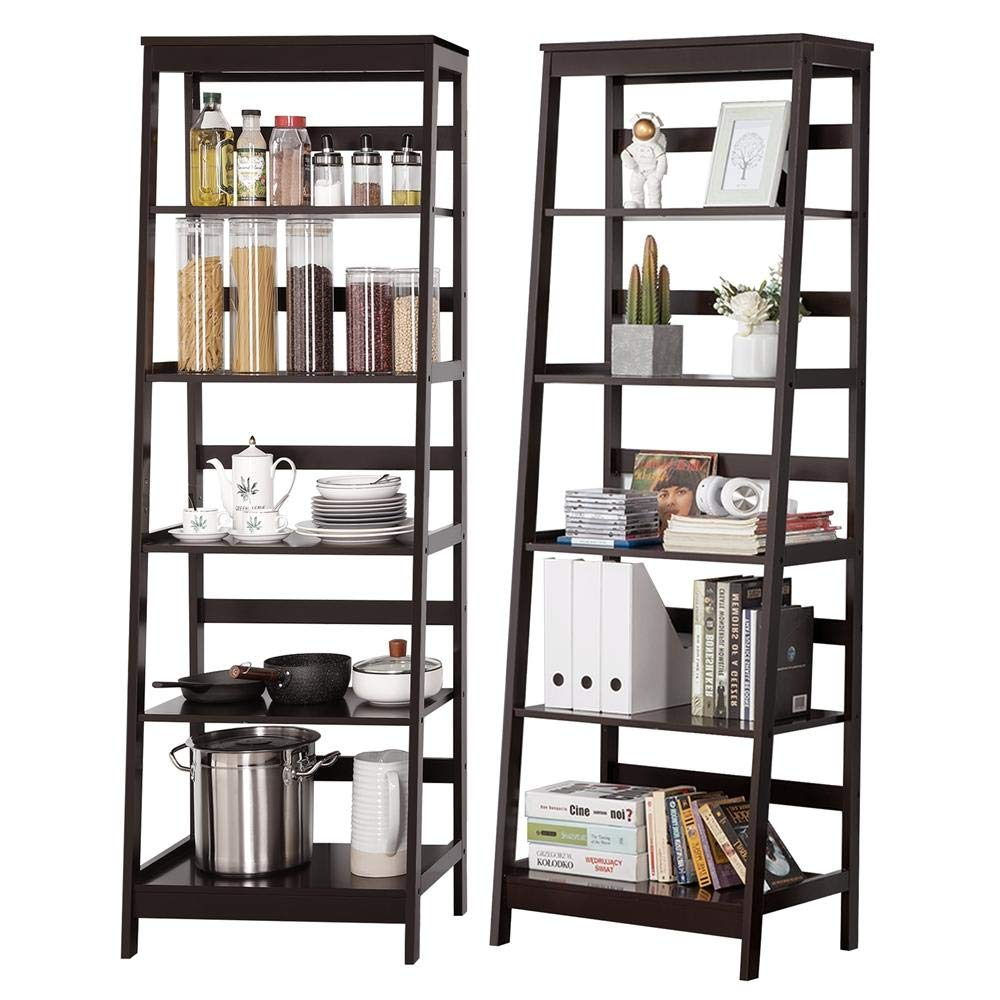 Topeakmart Set of 2 5-Tier Bookshelf Free Standing Ladder Shelf with Strong Frame, Espresso 2