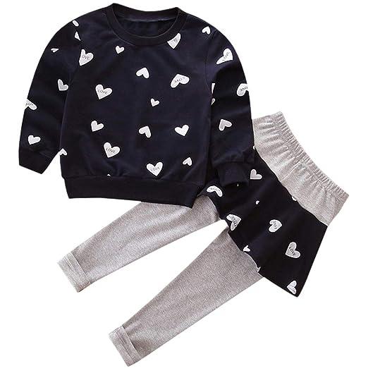 89665e4e85a2f Kids Long Sleeve Cute Heart Print T Shirt Tops + Skirted Pant Set 2 Pieces  Outfit