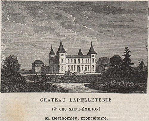 - SAINT-CHRISTOPHE-DES-BARDES. Chateau Lapelleterie. 2e Cru St-Émilion. SMALL - 1908 - old print - antique print - vintage print - Gironde art prints