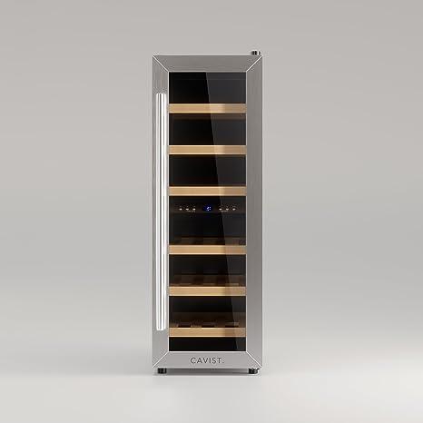 CAVIST CAVIST21 Weinkühlschrank / 21 Flaschen / 65L Kapazität / 6 Regale  aus Holz / 2 Temperaturzonen / 7°C bis 18°C und 12°C bis 18°C / silber