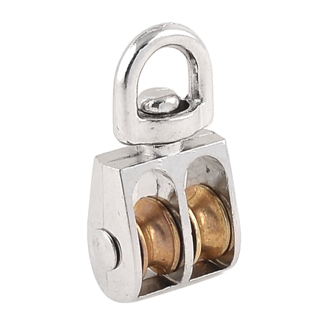 Sourcingmap a14010300ux0501 Double Wheel Hoist Wire Rope Pulley Block Tackle, Gold Tone