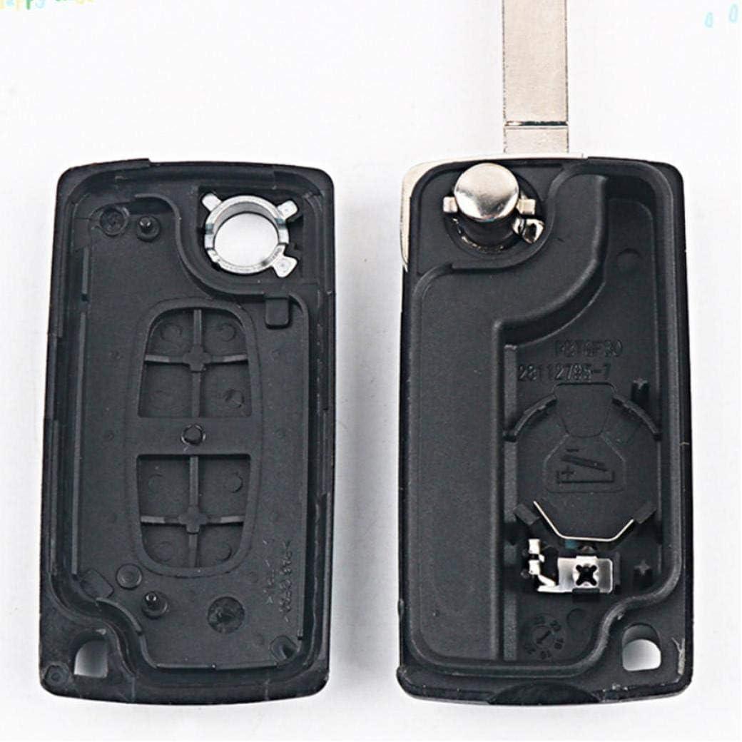1 Pc 2 Buttons Car Remote Key Fob W//uncut Blade for Peugeot 207 307 308 407 807 Sw 407 Ce0536 Black